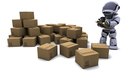 3D render of Robot with Shipping Boxes Stock Photo - 9226665