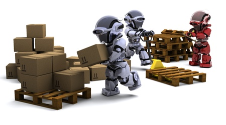 3D render of Robot with Shipping Boxes Stock Photo - 9226739