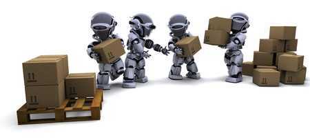3D render of Robot with Shipping Boxes Stock Photo - 9226671