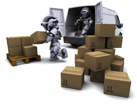 3D render of Robot with Shipping Boxes loading a van Stock Photo - 9226737