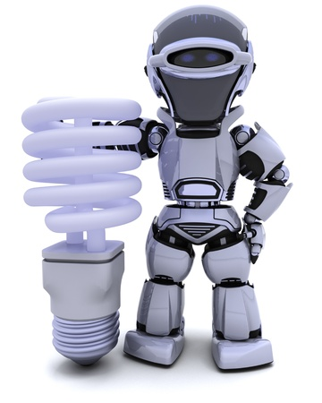3D render of a robot with energy saving lightbulb photo