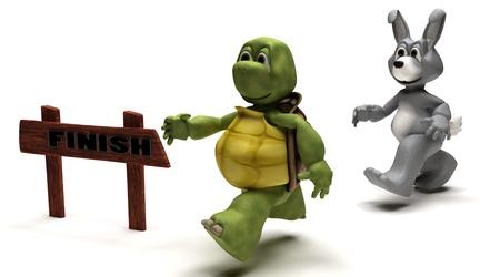 liebre: Render 3D de una metáfora de carrera de tortuga y la liebre