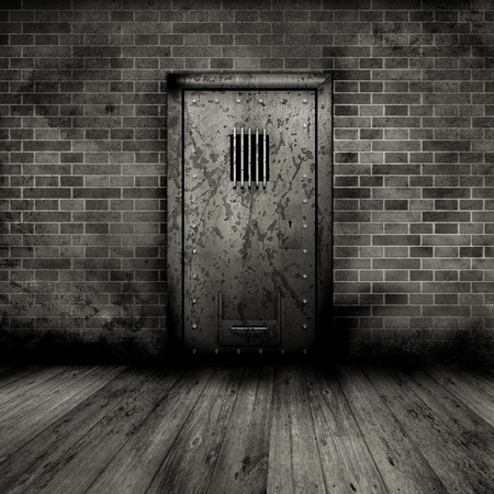 old door: Grunge style interior with a prison door