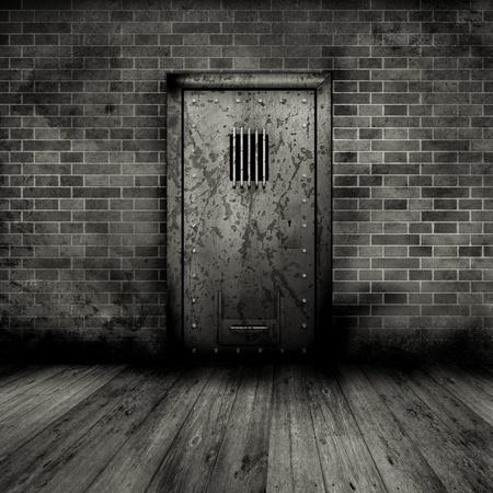 cella carcere: Interni in stile grunge con una porta di prigione