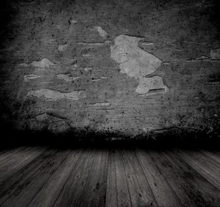 wall floor: Grunge style image of an old interior with peeling walll and wooden floor