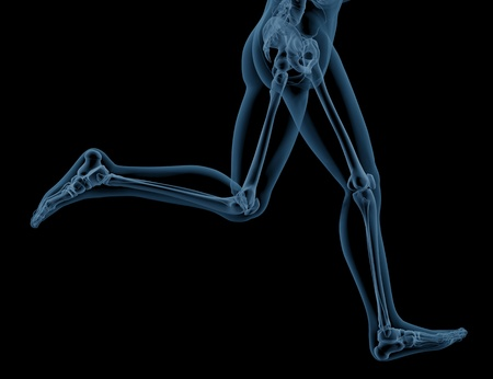 3D render of close up of a medical skeleton legs running photo