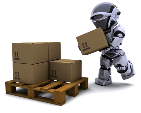 3D render of Robot with Shipping Boxes Stock Photo - 9226767