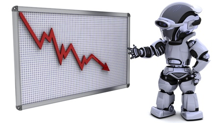 3D render of a robot with a graph chart Stock Photo - 9226795
