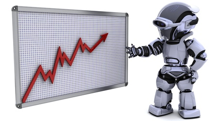 3D render of a robot with a graph chart photo