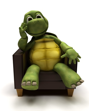 carapace: 3D Render of a Tortoise relexing in armchair