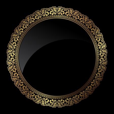 ornate gold frame: Marco circular decorativo en colores oro met�licos