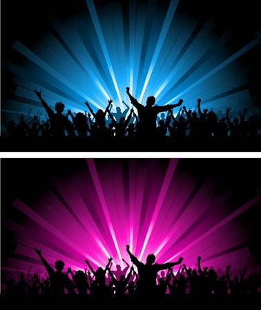 Silhouette of a crowd scene on different coloured starburst backgrounds Stock Photo - 9274529