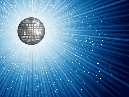 mirror ball: Bolas de espejo discoteca brillante sobre un fondo estrellado