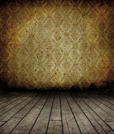 cracked wall: Grunge interior with wooden floor and vintage wallpaper on wall