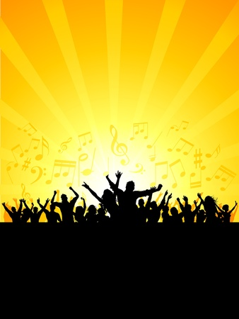 boys party: Silhouette of a party crowd on a music notes background Stock Photo