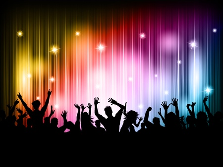 party silhouette: Silhouette of a party crowd on a colourful lights background