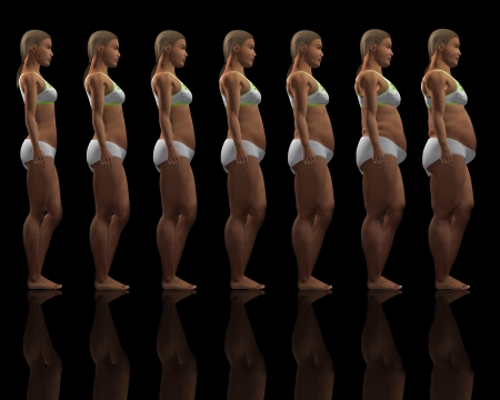 weight gain: 3D renders showing the stages of a female putting on weight