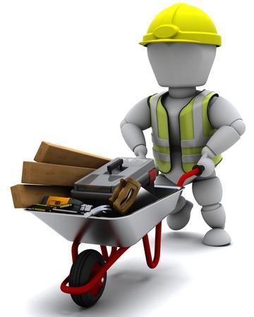 carretilla: Render 3D de un constructor con un túmulo rueda con herramientas