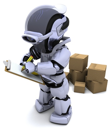 3D render of Robot with Shipping Boxes Stock Photo - 9334313