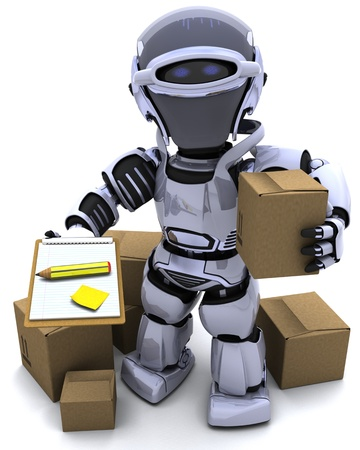 3D render of Robot with Shipping Boxes photo