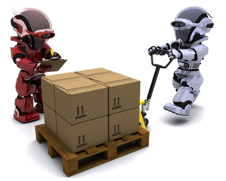 3D render of Robot with Shipping Boxes Stock Photo - 9334326