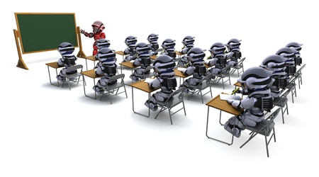 3D render of a robot teacher in classroom photo