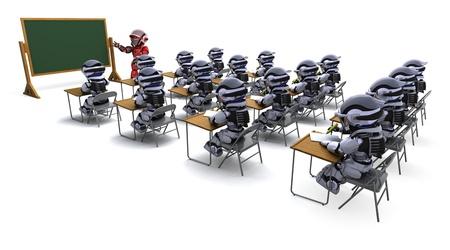 robot: 3D render of a robot teacher in classroom