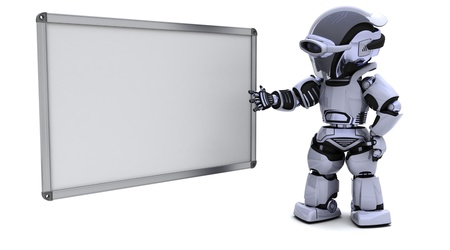 3D render of a robot with blank white board