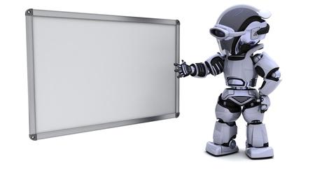 3D-Render-Business eines Roboters mit leere weiße Tafel