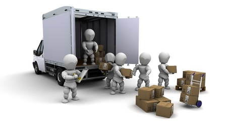 good guys: 3D Render of men packing boxes for shipment