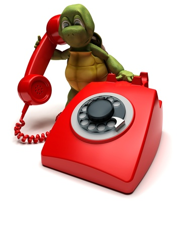 render: 3D render of a tortoise with a telephone