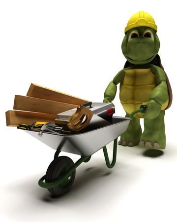 barrow: 3D render of a tortoise Builder with a wheel barrow carrying tools Stock Photo