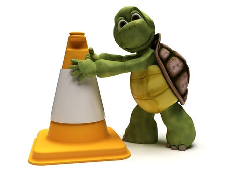 cone shell: 3D render of a tortoise with a caution cone