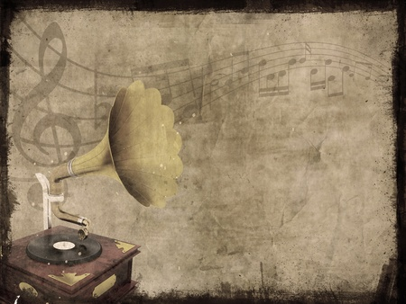 Dirty grunge background with old gramophone and music notes photo