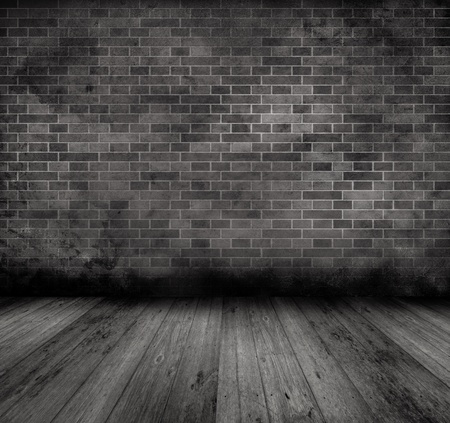 Grunge style image of an old interior with brick wall and wooden floor Stock Photo - 9387318
