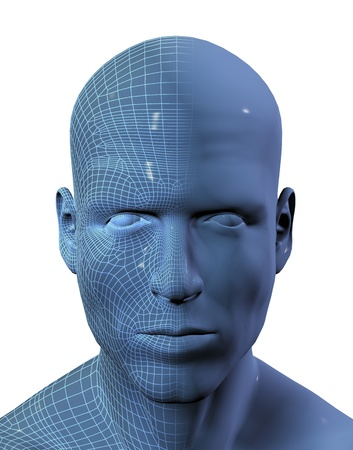 half face: 3D render of a males face with half the face in wireframe