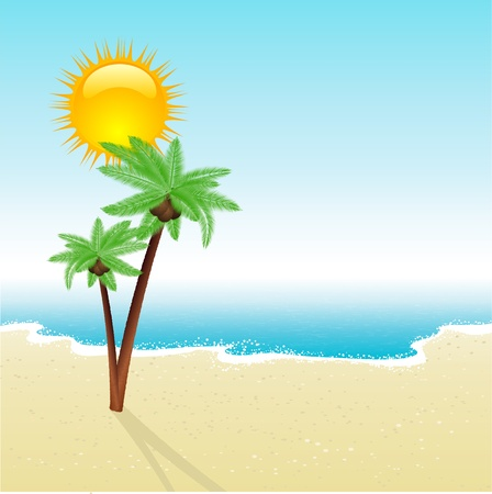 Tropical scene with detailed palm trees on a sandy beach Stock Photo - 9387330