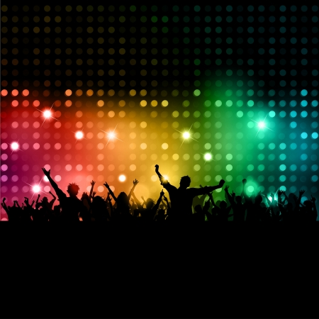 Silhouette of a party crowd on disco lights Stock Photo - 9387327