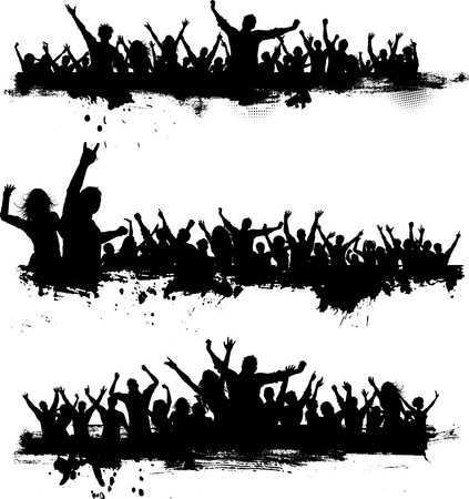 party silhouettes: Collection of three different party crowds on grunge