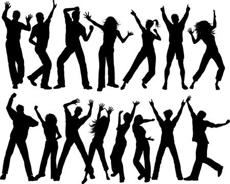 chicas bailando: Siluetas de mucha gente bailando Foto de archivo