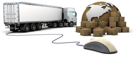 shipment: 3d render of online freight order tracking