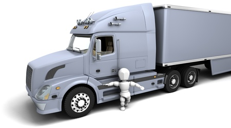 semitruck: 3D render of a man in a white  American semi-truck