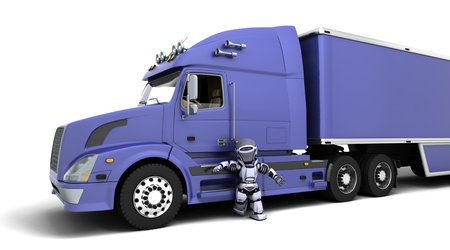 semitruck: 3D render of arobot with American semi-truck Stock Photo