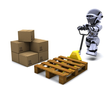 3D render of Robot with Shipping Boxes Stock Photo - 9440546
