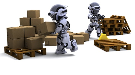 3D render of Robot with Shipping Boxes Stock Photo - 9440561