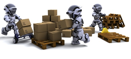 3D render of Robot with Shipping Boxes Stock Photo - 9440563