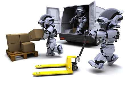 3D render of Robot with Shipping Boxes loading a van Stock Photo - 9440562