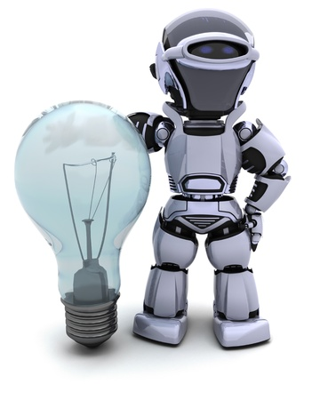 electricity 3d: 3D Render of a Robot with light bulb Stock Photo