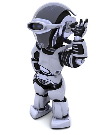 3D render of a chrome robot listening Stock Photo - 9440536