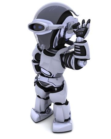 chrome man: 3D render of a chrome robot listening